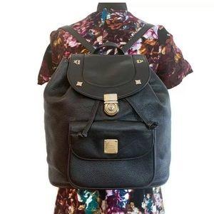 MCM Vintage Black Leather Backpack Authentic